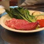 ちゃやまち - お肉はフィレとロースを。小松菜やサツマイモ、玉葱、赤コンニャク、等々・・