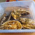竹崎海産 - カキは一籠1.000円に提供