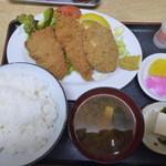 錦乃 - 串カツ、アジ、メンチ、盛り合わせ定食