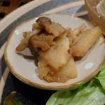 玄三庵  - 旬の小鉢(揚げじゃがときのこの甘辛生姜炒め、2013年3月)