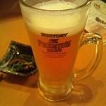 ほっと屋 - 生ビール(プレモル)480円、お通し300円