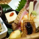 ひろ寿 - 栗、お麩の田楽、海老、鴨肉、胡麻豆腐
