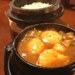 チャメ - 野菜スンドゥブ3辛 石釜ごはんと卵、もやしナムルつきで780円  寒すぎて温かいもの食べたくて駆け込んだ。 さー今日もがんばるぞ!