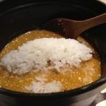 ほそ道 - カレーつけ麺、〆はご飯を入れてカレーリゾット!