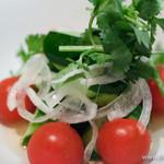 海南鶏飯食堂2 - トマト・キュウリ・オニオンの酸っぱいノンオイルサラダ
