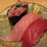回転寿司函館まるかつ水産 - まぐろ三好580円 本マグロ赤身・本マグロ大トロ・ねぎとろ