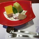 潮騒の宿 晴海 - 甘味:マーマレードムースと豆茶アイスクリーム
