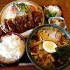 柳ヶ瀬本店 - 料理写真:とんかつとラーメンのセット \1344 ハンパないボリューム