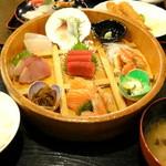 大洗 お魚食堂 - 魚河岸刺身盛込御膳1580円