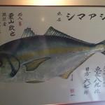 創作天ぷら いち - 店主が吊り上げたシマアジ 綺麗に魚拓されてます。