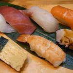 裕寿司 - 天ぷら御膳¥1280 握り7貫 全体に色が悪く弾力がナイ★★
