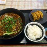 白胡麻屋 - ラー油と山椒の坦々麺+揚げ餃子セット