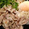 ウエスト - 料理写真:塩豚ぶっかけうどん610円+温度玉子(温泉玉子)80円。