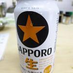 魚辰 - 缶ビール300円