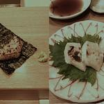 鮨義心 - 煮帆立、焼き白子