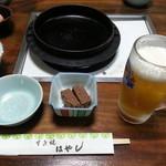 すき焼き はやし - 料理写真:付き出し、生ビール(キリン)¥600