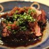 ゆうじ - 料理写真:レバー と ハツ のステーキ (大根オロシと葱をのせて)