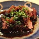 ゆうじ - レバー と ハツ のステーキ (大根オロシと葱をのせて)