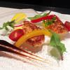 クラレット - 料理写真:前菜~パネ・ド・サーモン ユズヴィネグレット 冷製ブルイユと共に