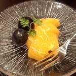 雲海 - 【初夏の会席】果物 「西瓜」のはずが・・・・ お隣と交換してオレンジ 葡萄に ^^;