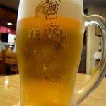 味処栄清丸 - まずは生ビールから。今回はエビスセットにしました。