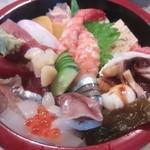 与兵衛鮨 - ネタは赤身・中トロ・煮穴子・鯵・イカイクラ・ゲソ付け根・サヨリ・ホタルイカ・小柱・蒸し海老・子持ち昆布・玉子焼き・デンブです。