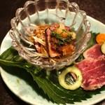 江戸肉割烹 ささや - 和牛みすじ粕漬け、馬肉たたき香味野菜添え