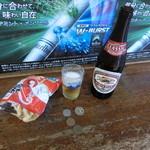 豊嶋屋酒店 - キリンラガー中瓶320円 かっぱえびせん60円