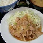 伊勢屋食堂 - 定番メニュー 豚ばら生姜焼き定食 700円