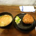 寺嶋屋 - 焼きおにぎり200円 味噌汁付き