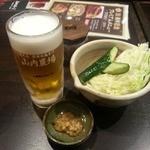 山内農場 - お通し&生ビール
