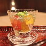 光安 - 初夏の野菜  蓴菜のジュレ寄せ (インカのめざめ、玉蜀黍、トマト、そら豆) (2013/06)