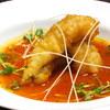 マエダ・ダイナスティ - 料理写真:鱧の天ぷら、トマトとお出汁の冷たいスープで
