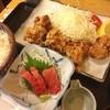 魚八 - 料理写真:ランチ。鶏竜田揚げと中トロ。