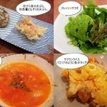 チューリップスープ - 花びら茸の天ぷら、自然薯ともずくの天ぷら。フレッシュサラダ 、トマトスープ、サフランライス