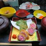 割烹 桂 - 日替わり定食:ハモと海老のロール揚(800円)