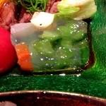 個室会席 北大路 - 黒毛和牛ステーキ 野菜のゼリー寄せ