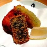 個室会席 北大路 - 毛蟹のクリームコロッケと旬野菜のフライ