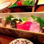 個室会席 北大路 - 鮪 赤貝 羽田 水蛸のお造り、伊佐木の塩焼き