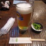 山商 - 「生ビール」、お通しの「枝豆」