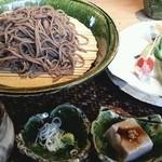 とき庵 - 地山菜の天もりそば 2013.8
