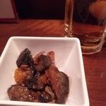 韓の里 - 付きだし 茄子と豚のピリ辛炒め