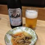 陸っぱり - 瓶ビール(550円) と お通し