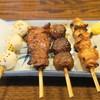 吉か - 料理写真:うずら玉子黒こしょう焼(130円)、焼肉(140円)、だんご(140円)、てっぽうニンニク(140円)