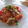 P's GARDEN - 料理写真:焼き茄子とチェリートマトの冷製パスタ、パン、スープ