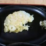 道の駅 かわもと - サービスの天ぷらとミョウガ