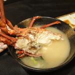 宵 - お刺身でいただいた伊勢海老でお味噌汁を作ってもらいました