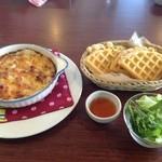 Deckcafe@Shirasaki - グラタンランチ(ワッフル食べ放題付)