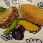 さんるーむ - 夏野菜の和風おろしハンバーグと卯の花コロッケ