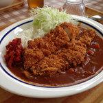 ドジャース食堂 - カツカレー 600円。カツのボリュームが凄い!(かき氷付き)